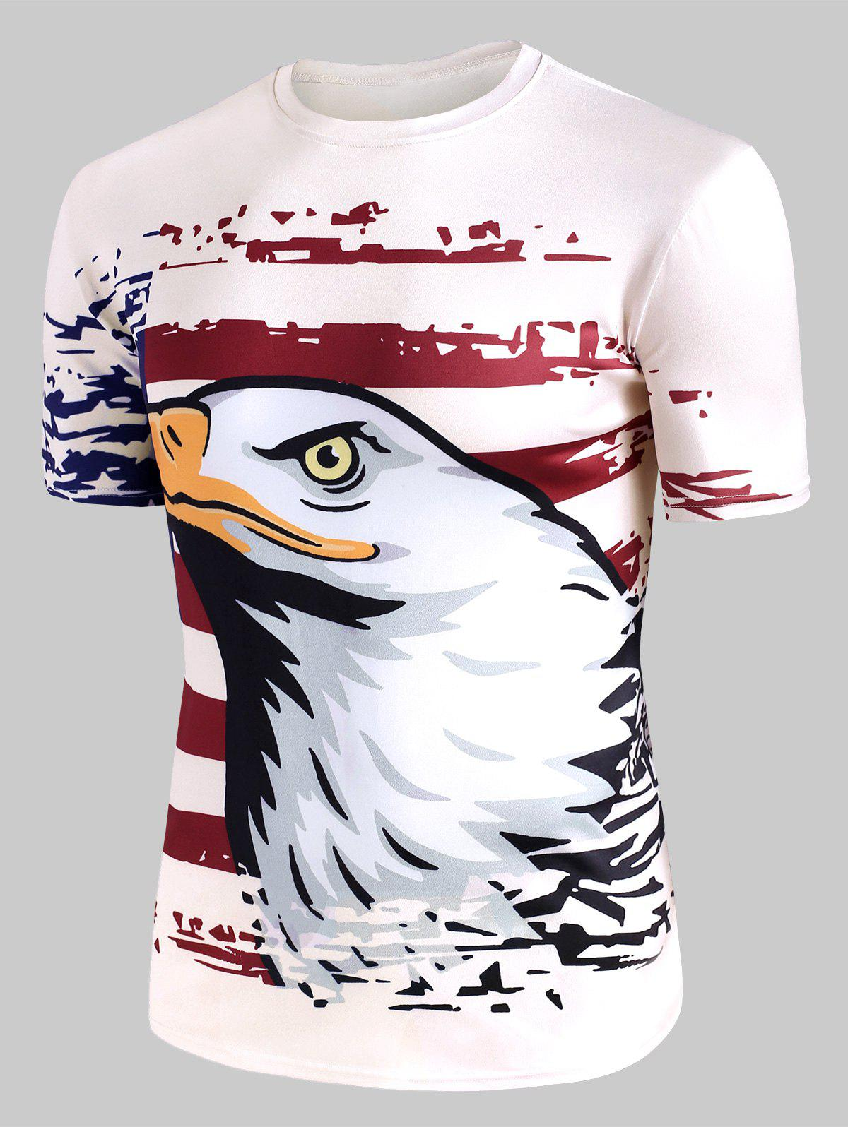 Eagle American Flag Graphic Crew Neck Casual T Shirt - WHITE 3XL