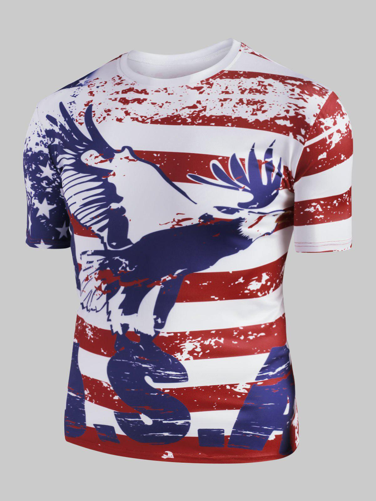 Eagle American Flag Graphic Slim Fit Casual T Shirt - RED 2XL
