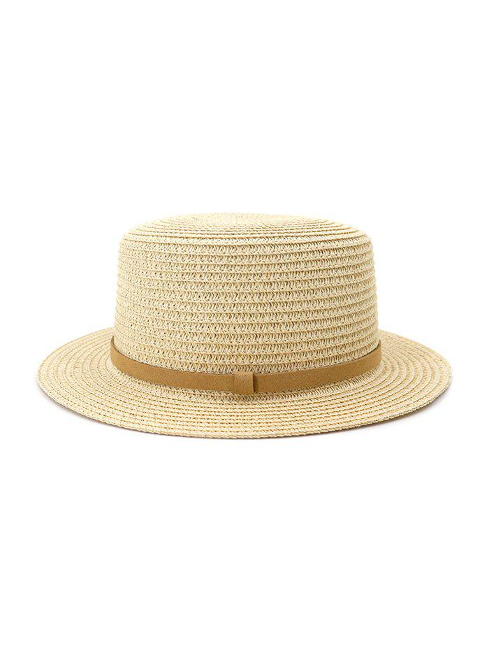 Straw Flat Top Hat With Leather - BEIGE