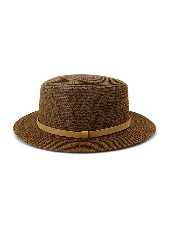 Straw Flat Top Hat With Leather - COFFEE