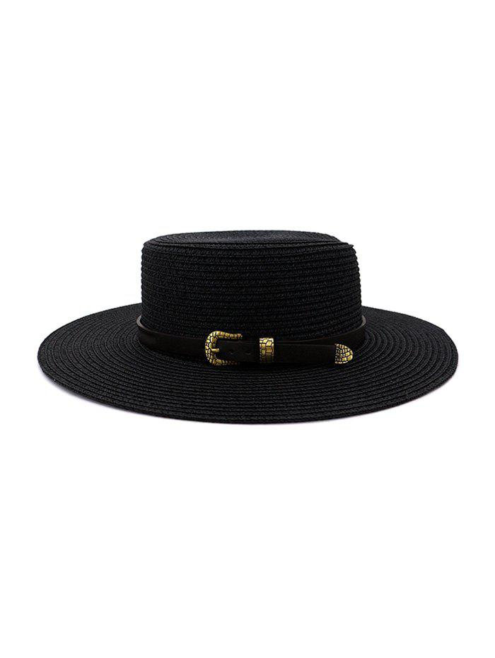 Buckle Belt Wide Brim Flat Top Straw Hat - BLACK