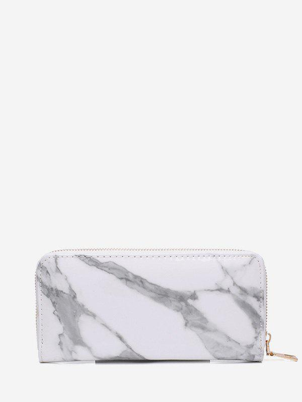 Marble Print Leather Long Clutch Wallet - WHITE