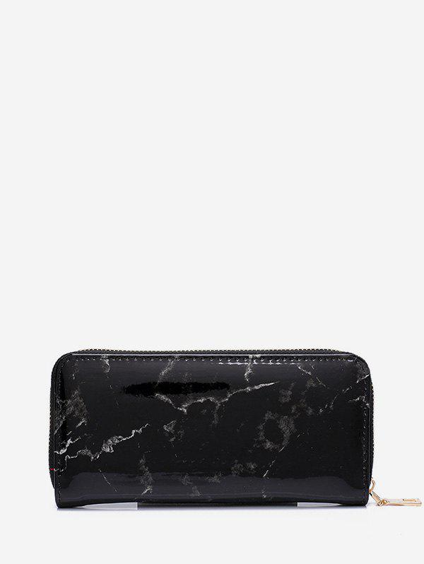 Marble Print Leather Long Clutch Wallet - BLACK