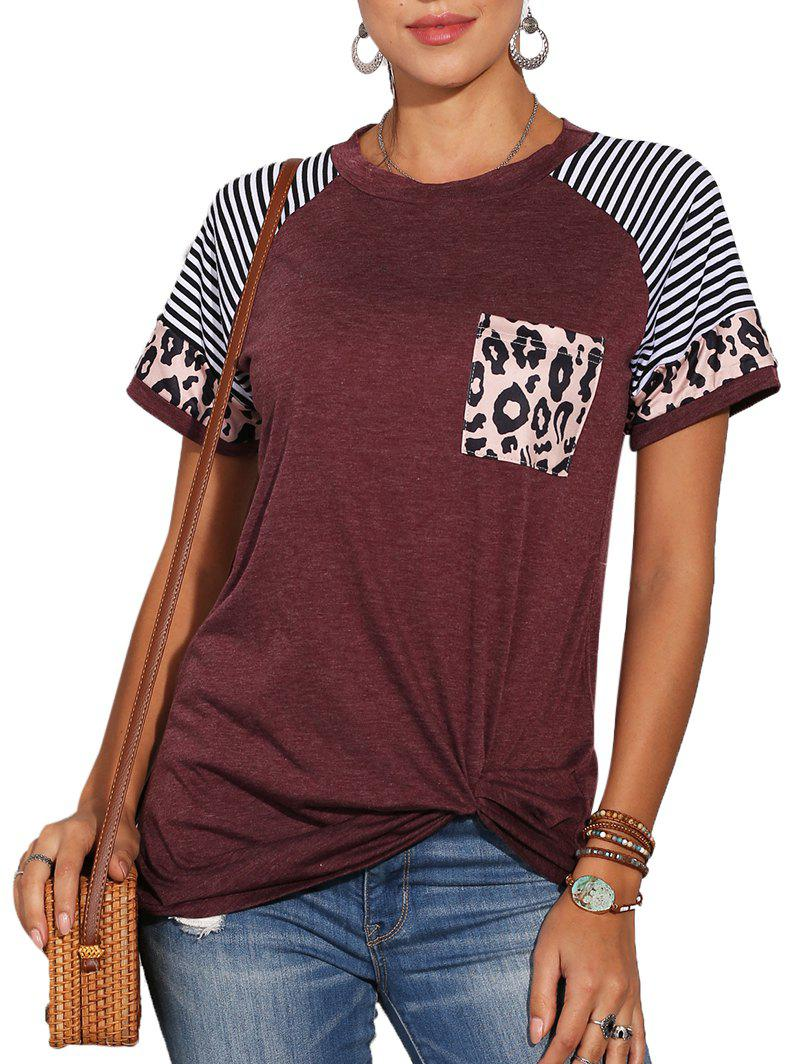 Leopard Panel Striped Twist Front Pocket Tee - DEEP RED M