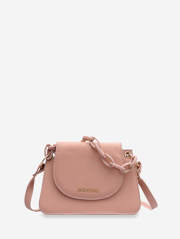 Letter Print Chain Embellished Small Crossbody Bag - LIGHT PINK