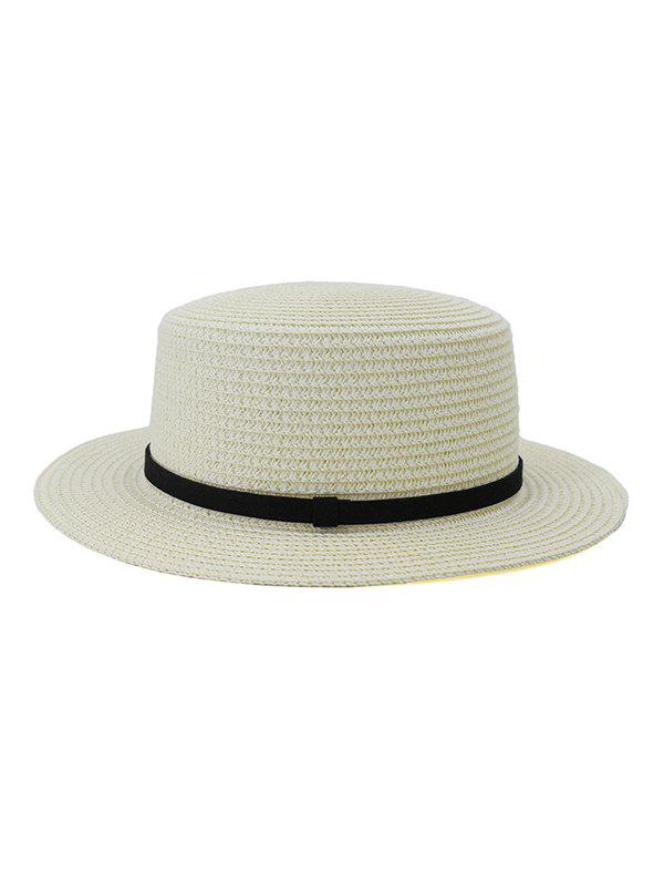 Straw Flat Top Hat - WHITE