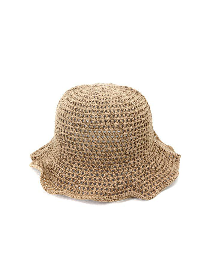 Hollow Out Woven Bucket Hat - KHAKI