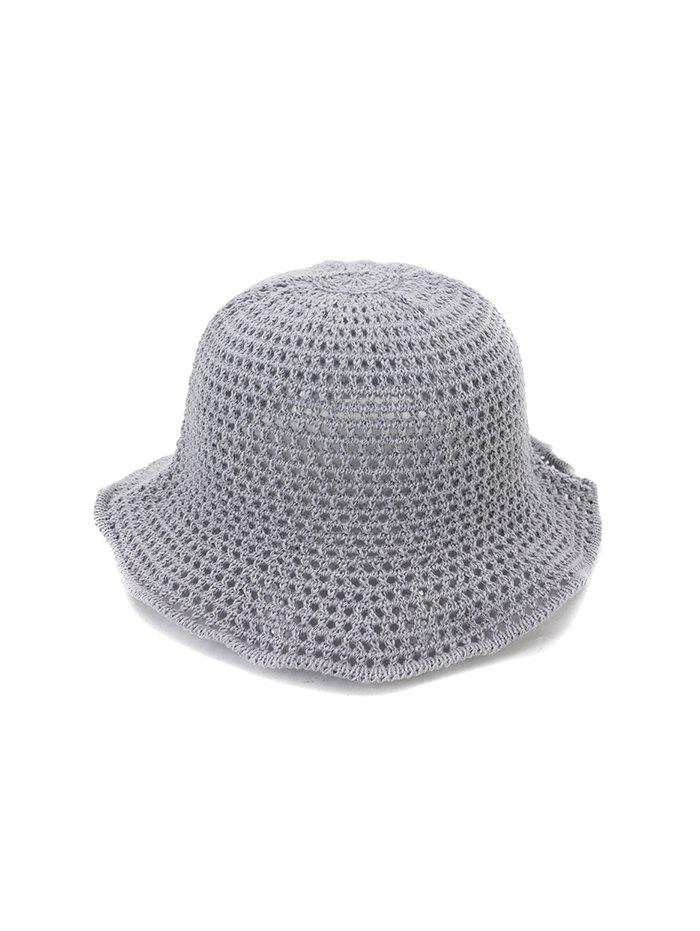 Hollow Out Woven Bucket Hat - GRAY