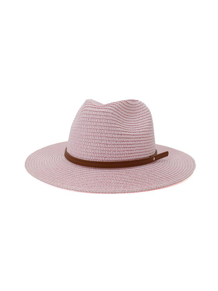 Jazz Straw Hat With Leather Belt - HOT PINK