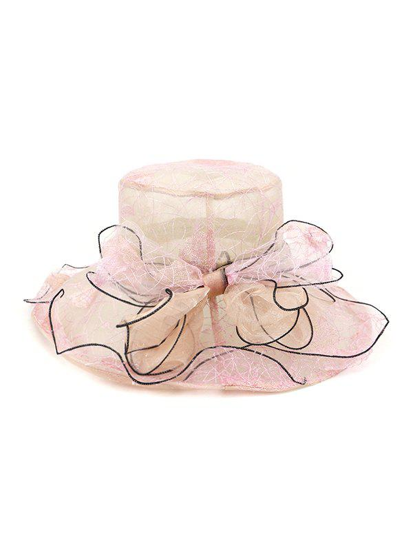 Bowknot Sheer Organza Wide Brim Hat - LIGHT PINK