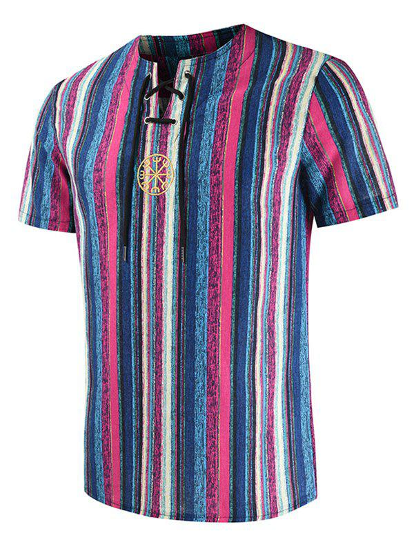 Embroidery Decorated Striped Print T-shirt - PURPLE L