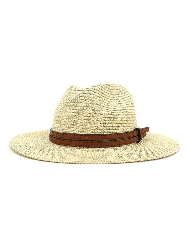 Straw Jazz Hat With Layered Belt - BEIGE
