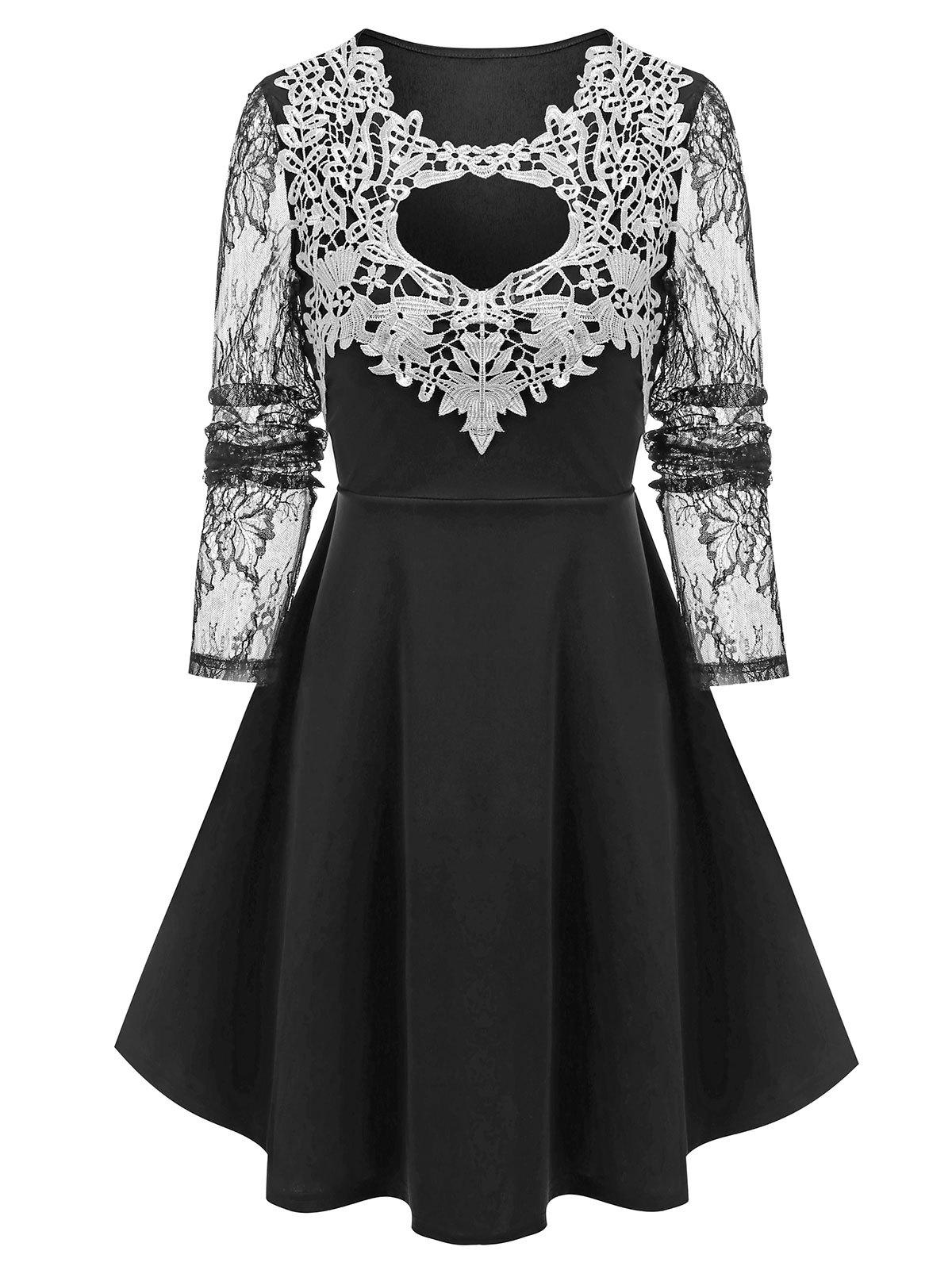 Lace Insert Cut Out Prom Dress - BLACK M