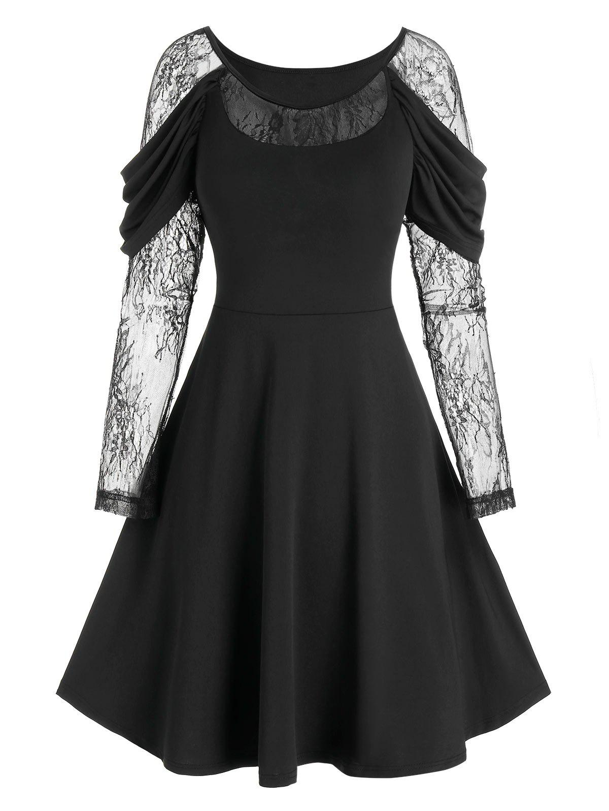 Lace Sleeve Draped Gothic Prom Dress - BLACK XL