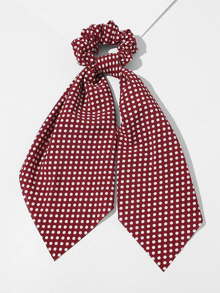 Dots Printed Fabric Ribbon Scrunchy - RED