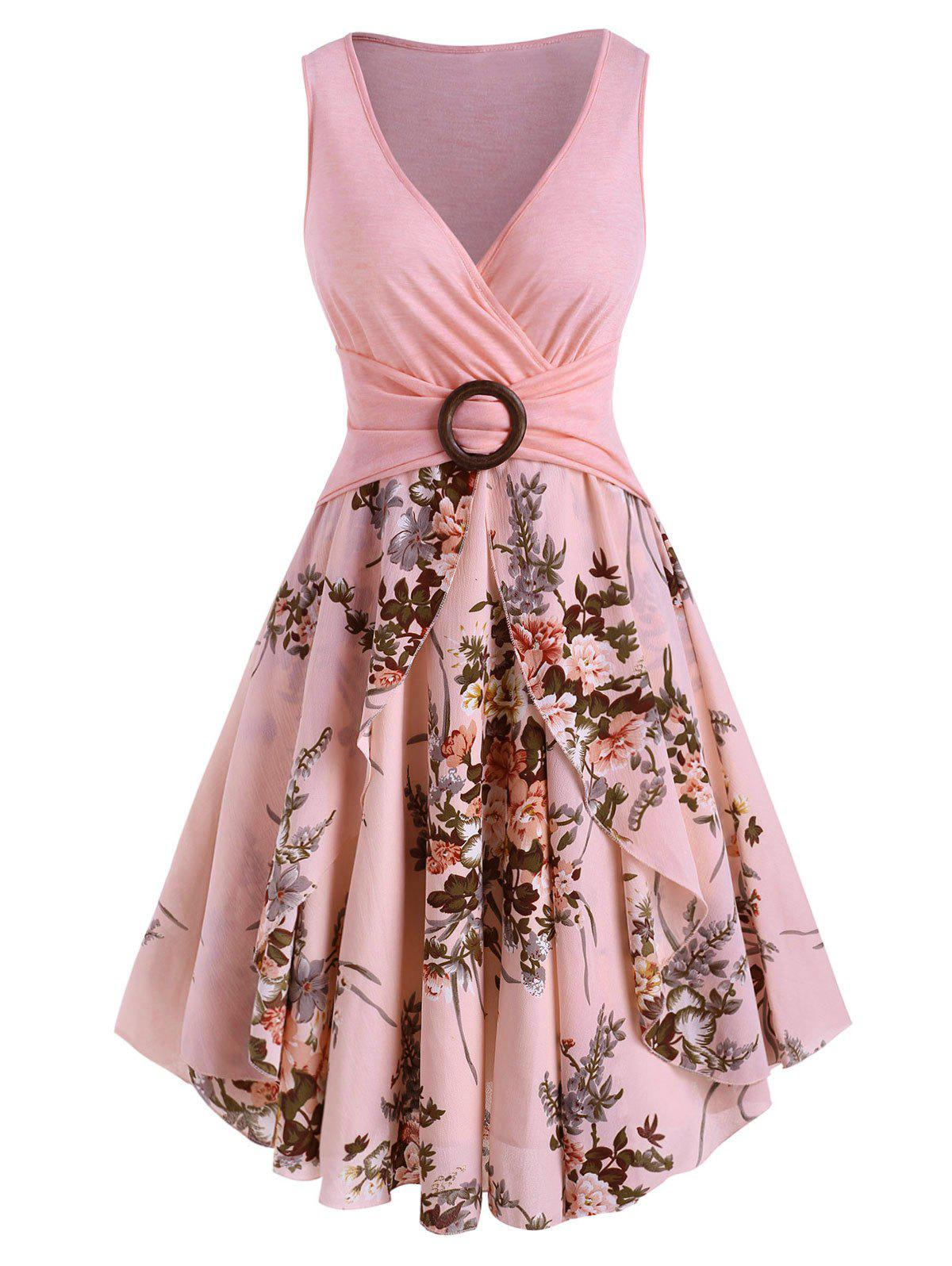 Flower Print O Ring High Waisted Surplice Dress - LIGHT PINK S