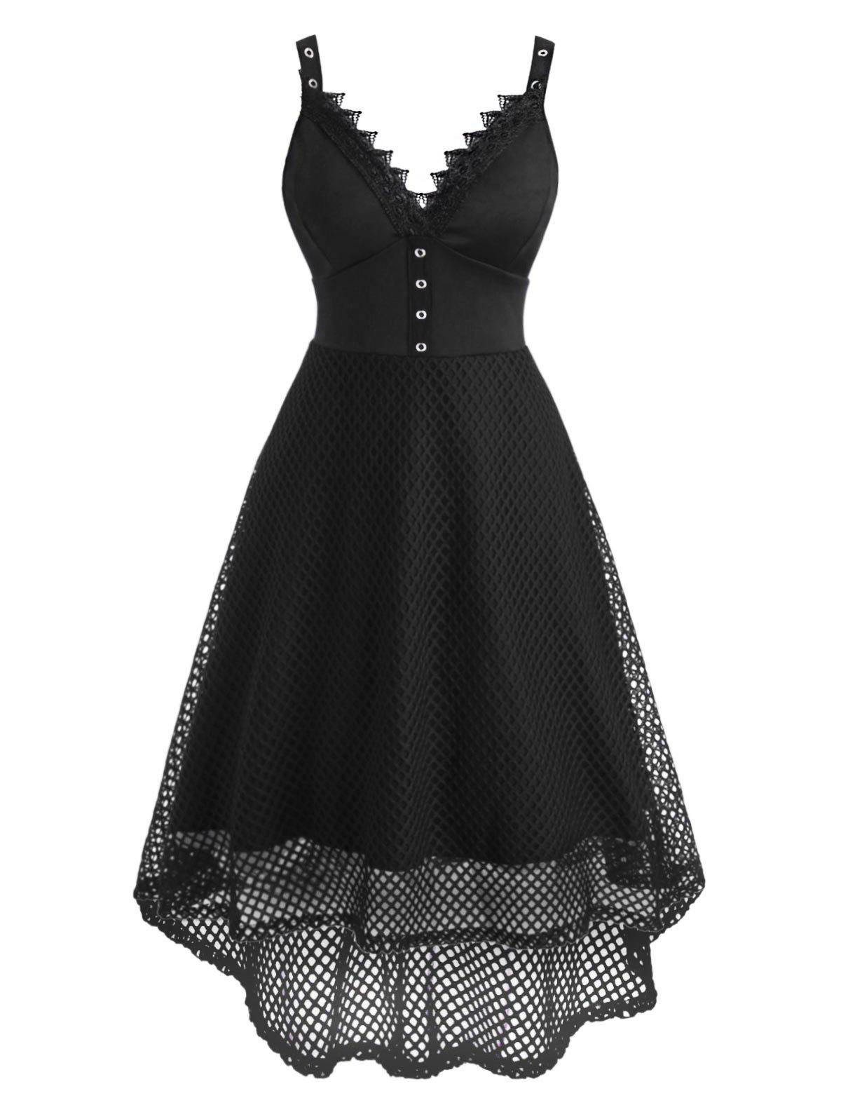 Fishnet Lace Insert Empire Waist High Low Grommet Dress - BLACK L