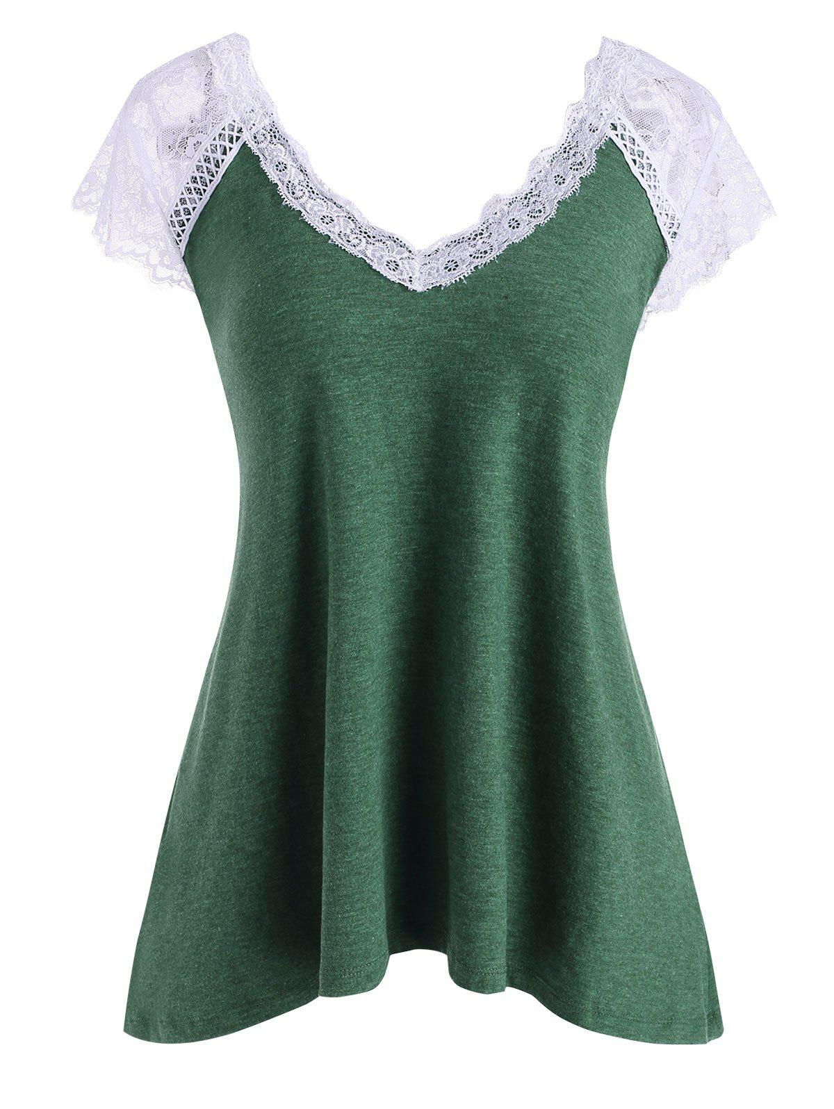 Lace Insert Plunging Cap Sleeve T-shirt - DEEP GREEN L