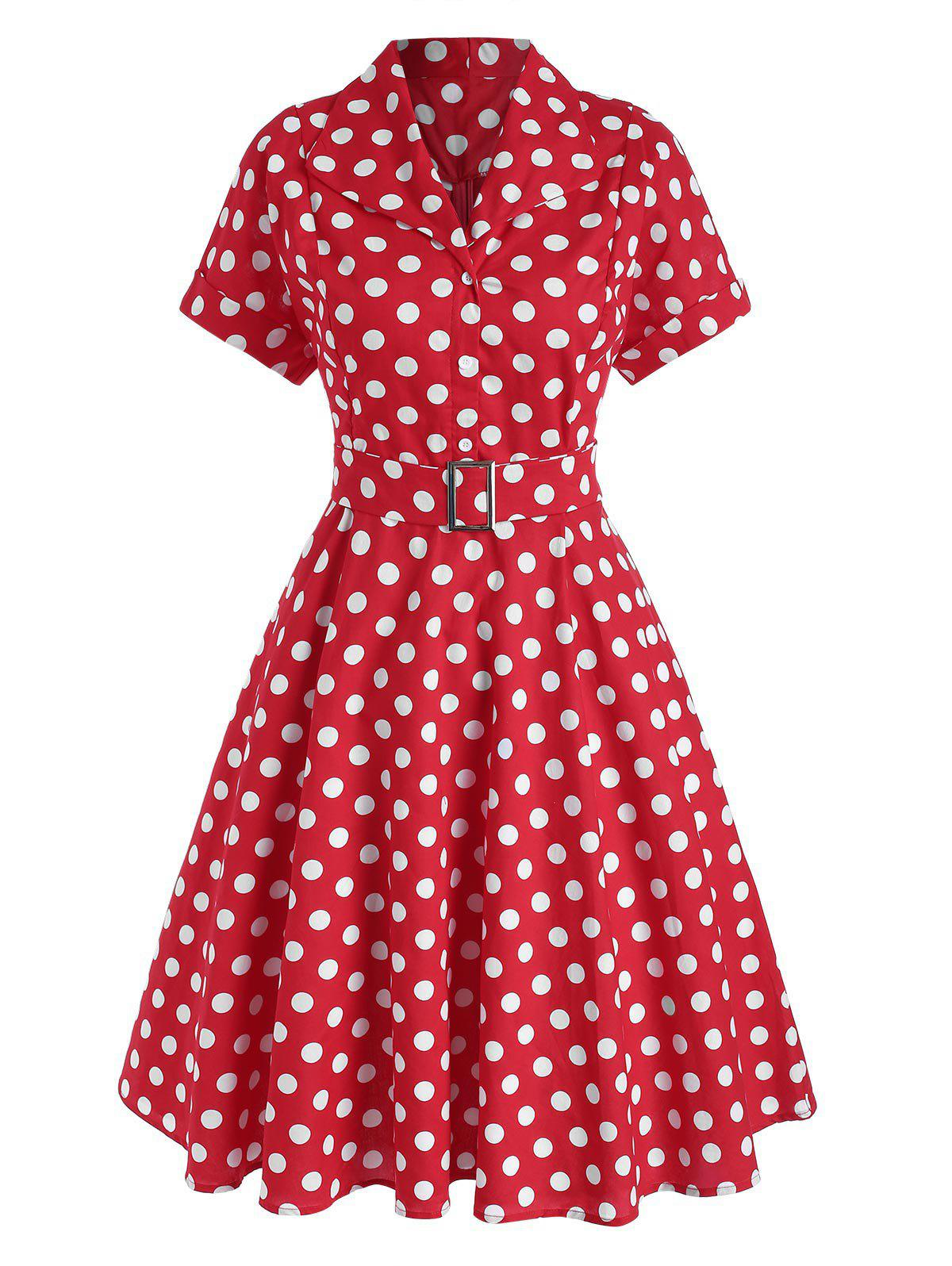 Polka Dot Belted Button Placket Vintage Dress - RED L