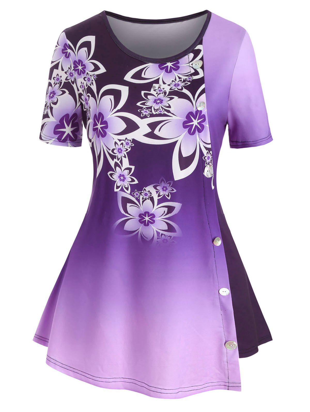 Ombre Floral Buttons Plus Size Tunic Top - CONCORD 5X