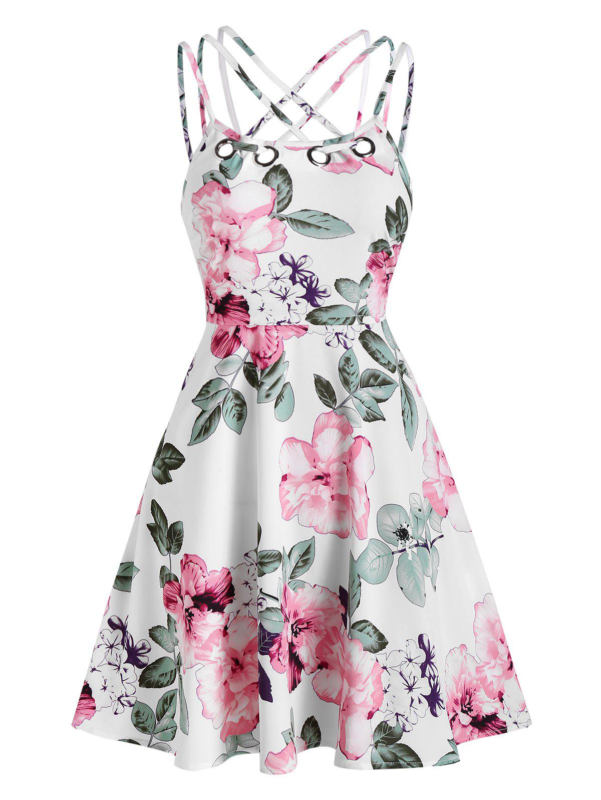 Floral Print High Waist A Line Dress - WHITE M