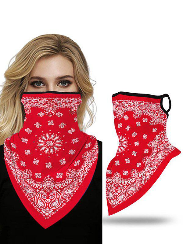 Bohemian Outdoor Paisley Printed Mask Scarf - RED