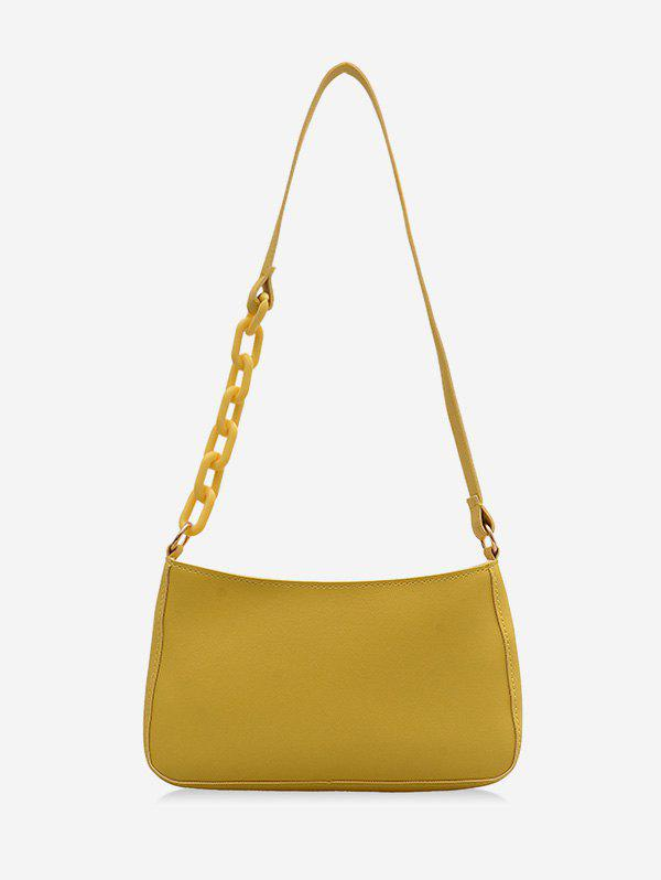 Solid Color Leather One Shoulder Bag - YELLOW