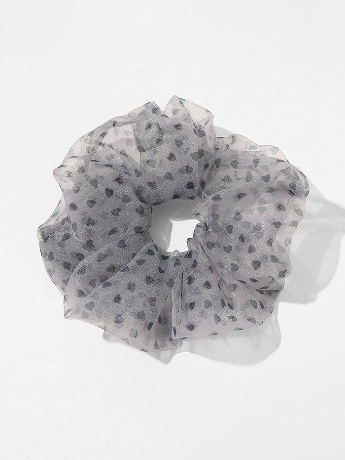 Ditsy Heart Mesh Large Elastic Scrunchies - GRAY