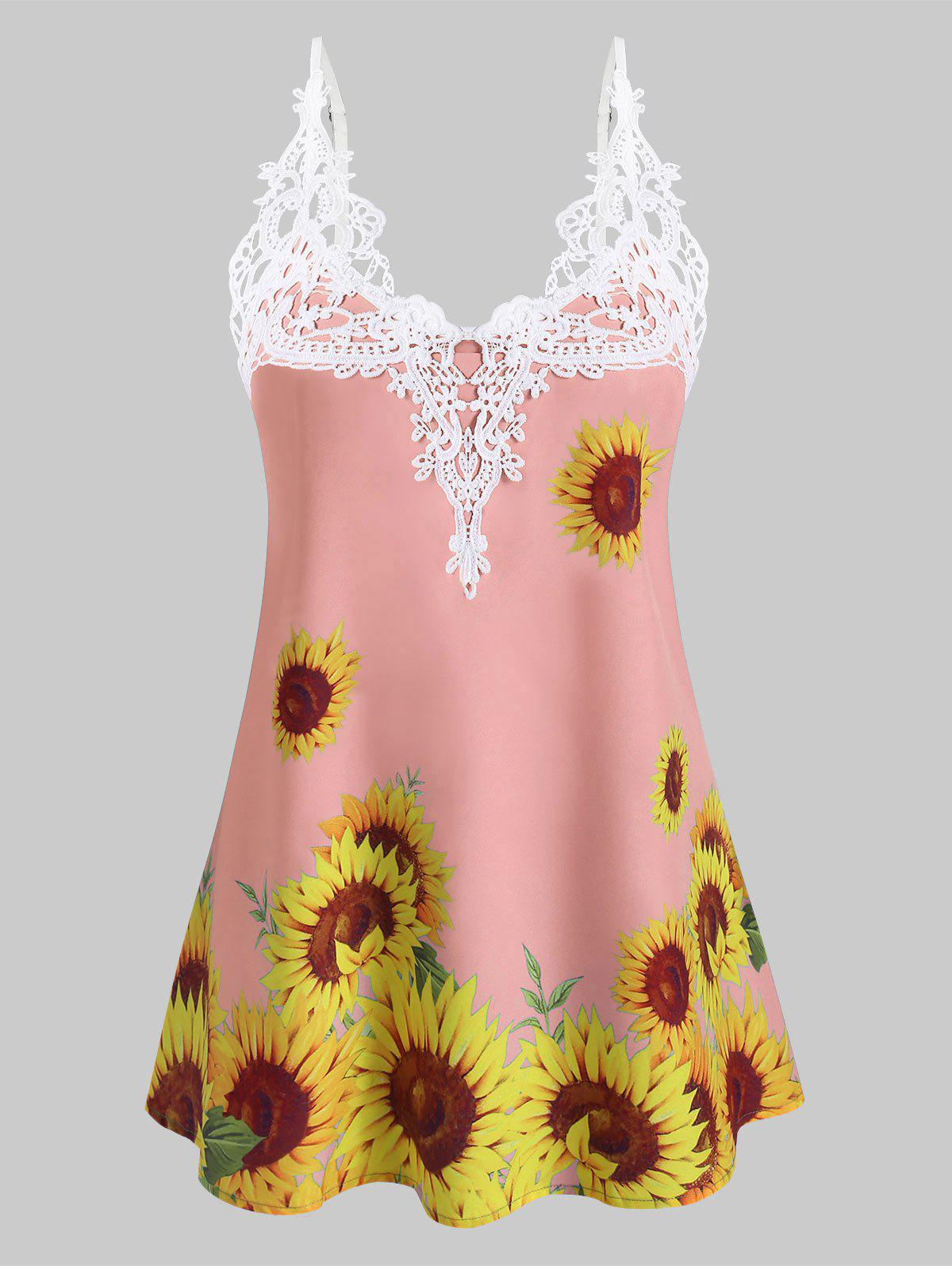 Crochet Lace Panel Sunflower Cami Top - LIGHT PINK S