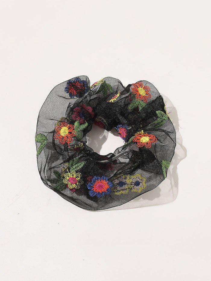 Floral Embroidery Transparent Mesh Scrunchy - BLACK