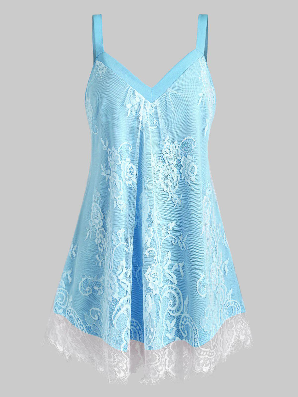 Plus Size Sweetheart Neck Floral Lace Overlay Tank Top - LIGHT BLUE 5X