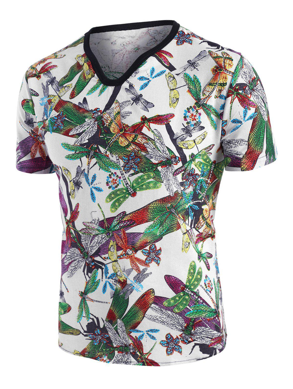 Dragonfly Print Ethnic Short Sleeve T Shirt - multicolor M