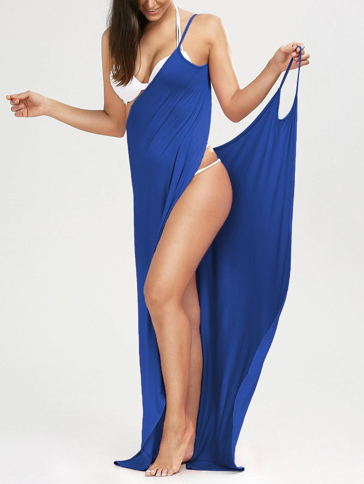 Wrap Solid Maxi Cover Up Dress - BLUE L