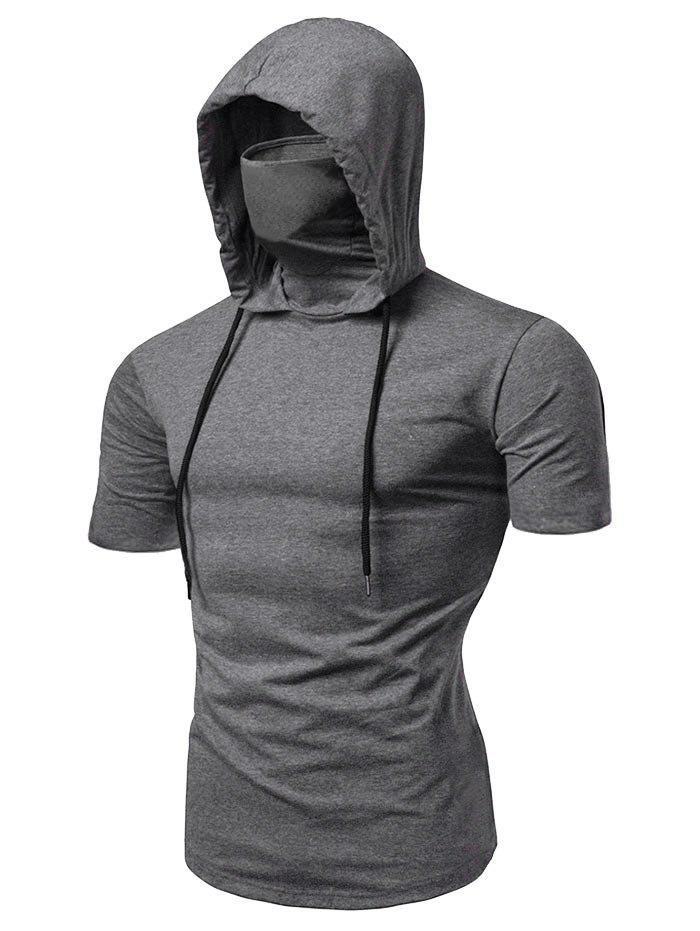 Bandana Mask Hooded Drawstring Short Sleeve T Shirt - GRAY L