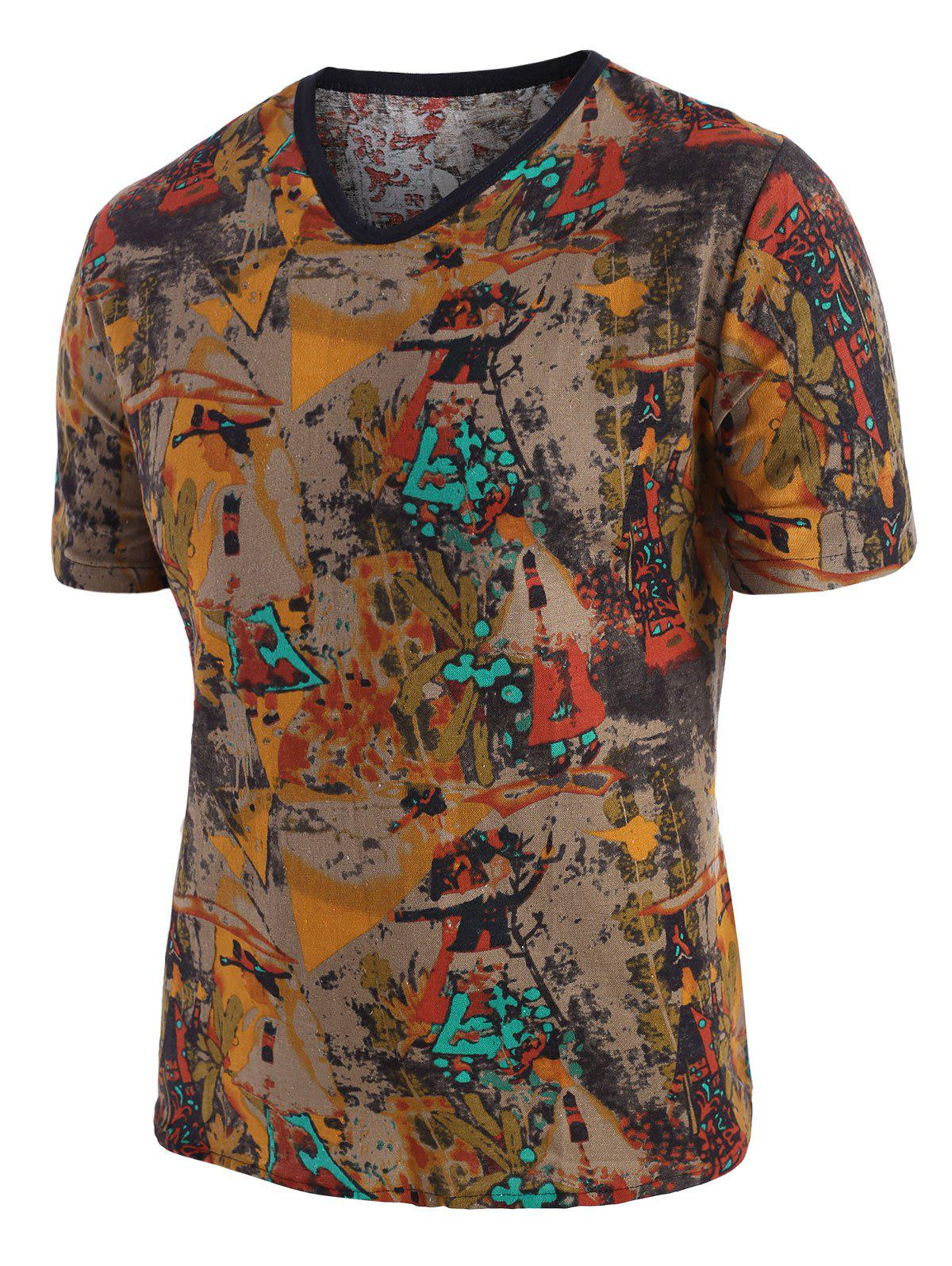 Splatter Print Ethnic Short Sleeve T Shirt - multicolor 2XL