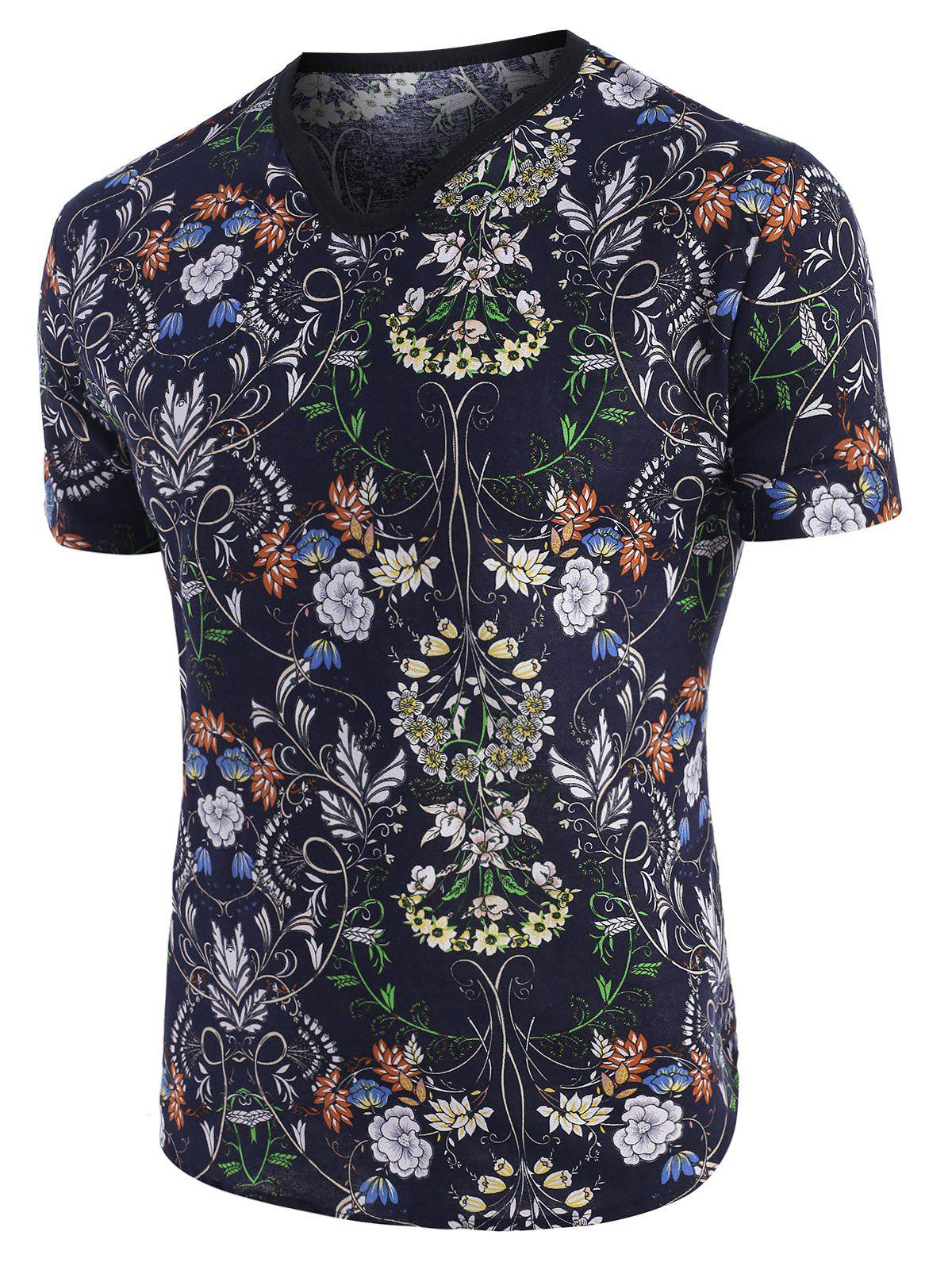 Floral Print Ethnic V Neck Short Sleeve T Shirt - multicolor 3XL