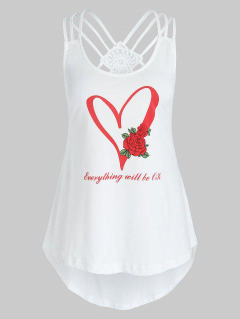 Plus Size Heart Print Strappy Graphic Tank Top