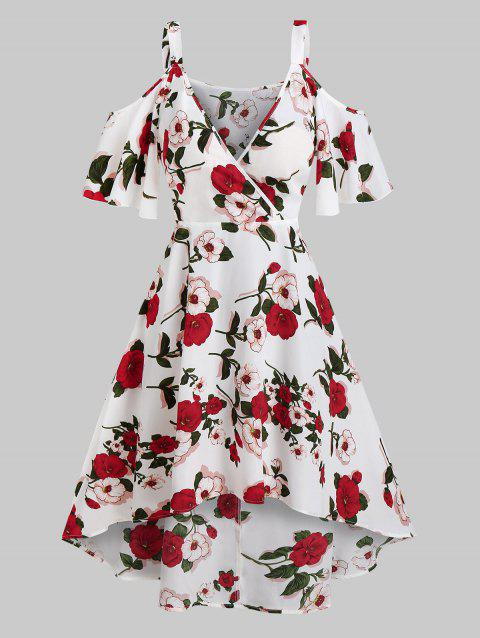 Floral Print Flare Sleeve Surplice High Low Dress