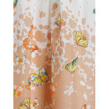 Plus Size Butterfly Print Pleated Cami Tank Top