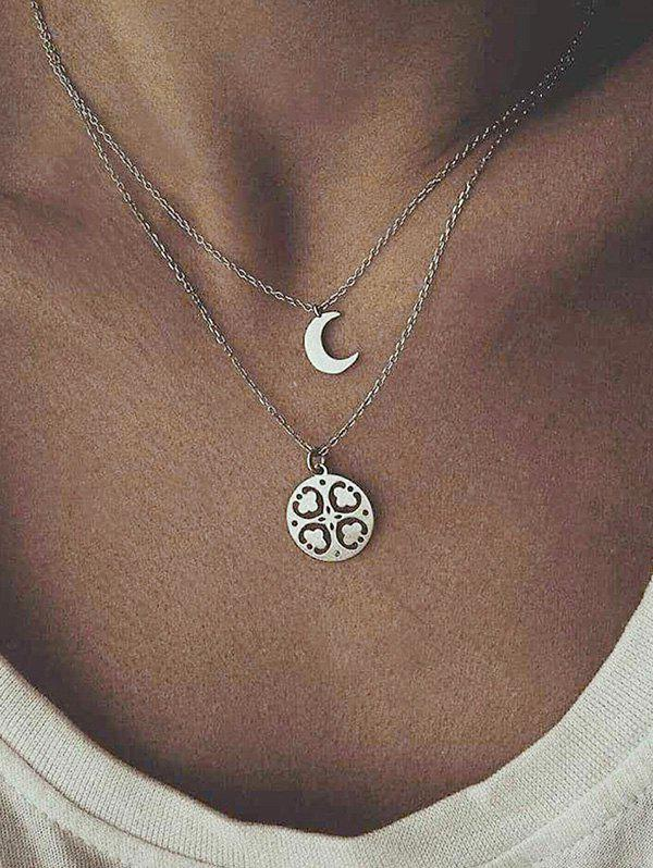 Double Layer Moon Flower Chain Necklace - SILVER