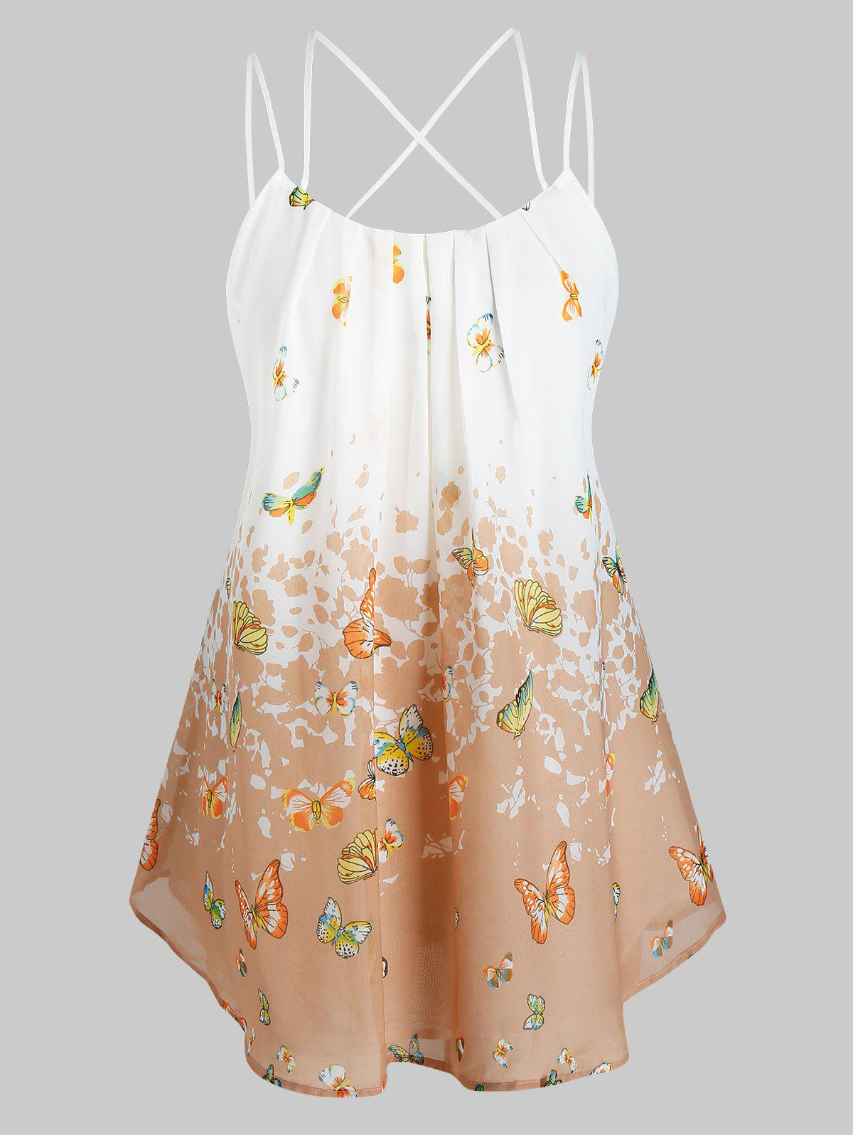 Plus Size Butterfly Print Pleated Cami Tank Top - BLANCHED ALMOND 2X