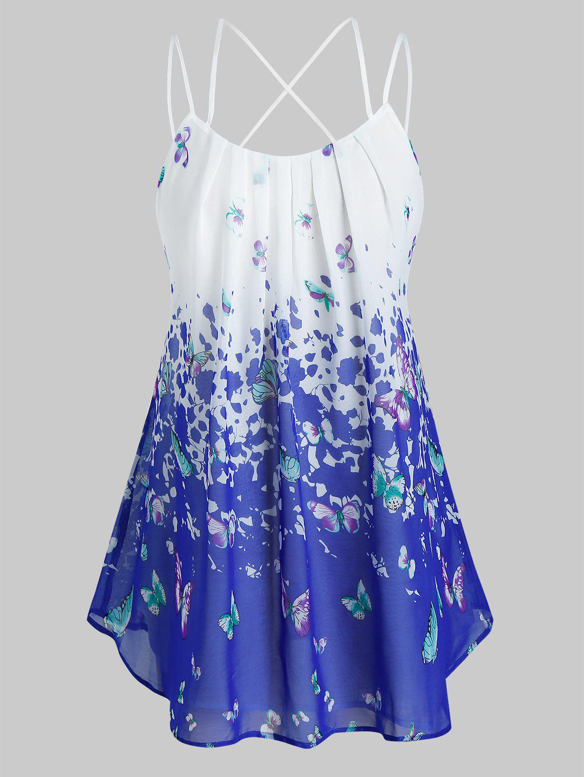 Plus Size Butterfly Print Pleated Cami Tank Top - COBALT BLUE L