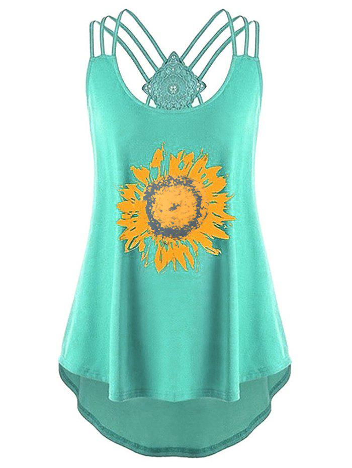 Plus Size Sunflower Print Strappy High Low Tank Top - GREEN 3XL