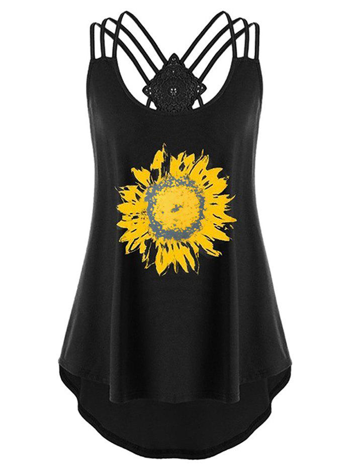 Plus Size Sunflower Print Strappy High Low Tank Top - BLACK 3XL