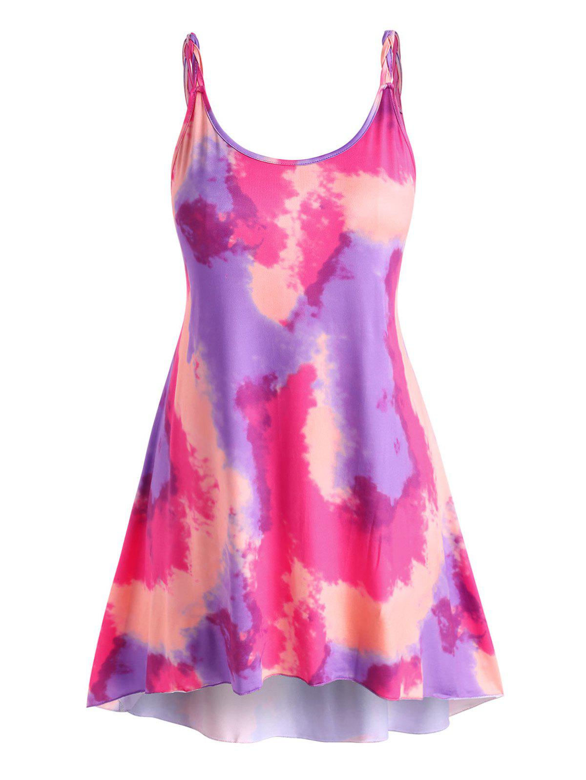 Plus Size Tie Dye Braided Strap Tank Dress - LIGHT PINK 3XL