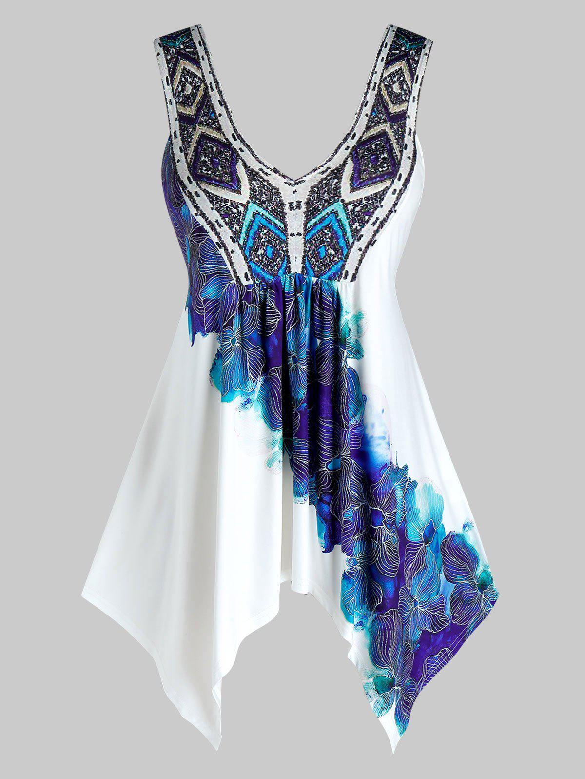Plus Size Printed Plunging Neck Handkerchief Tank Top - WHITE 1X