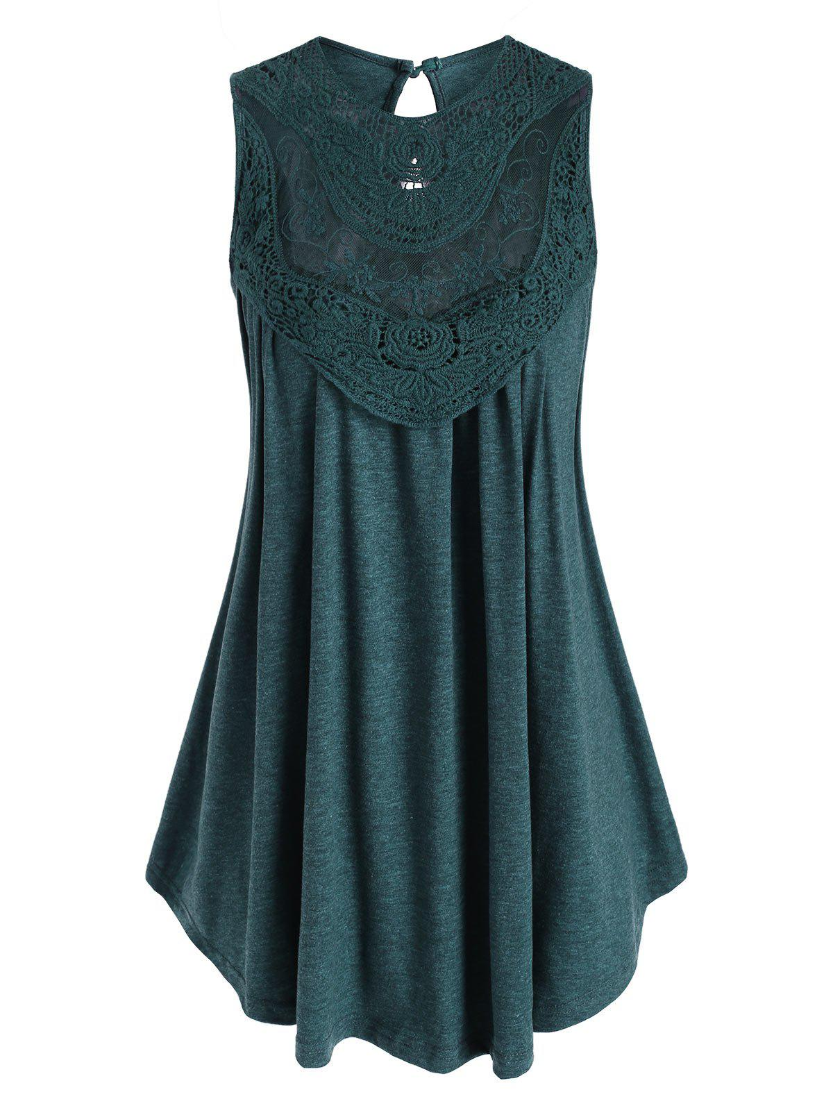 Crochet Lace Panel Heathered Keyhole Plus Size Tank Top - DEEP GREEN 2XL