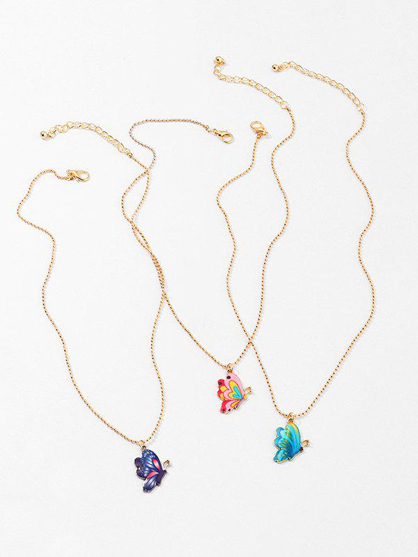 3Pcs Colored Butterfly Necklace Set - GOLD