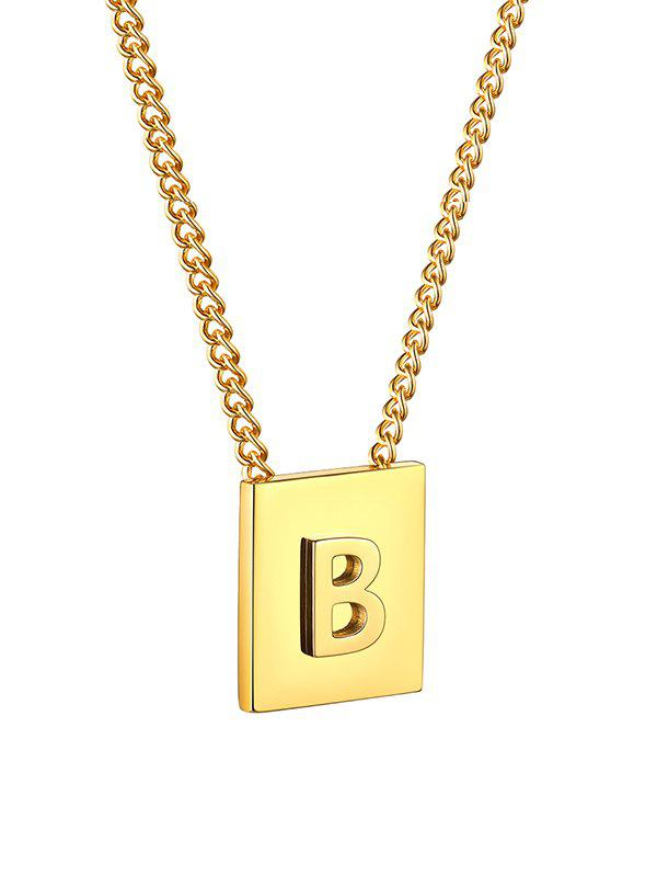 Stainless Steel 18K Gold Plated Square Initial Necklace - GOLDEN B