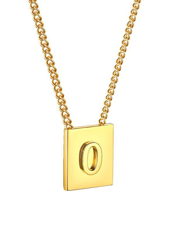 Stainless Steel 18K Gold Plated Square Initial Necklace - GOLDEN O